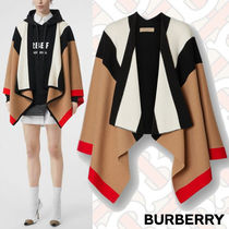 Burberry Short Stripes Cashmere Street Style Ponchos & Capes