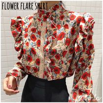 Flower Patterns Casual Style Blended Fabrics Long Sleeves