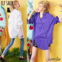 ELF SACK Casual Style Street Style Long Sleeves Plain Cotton Medium