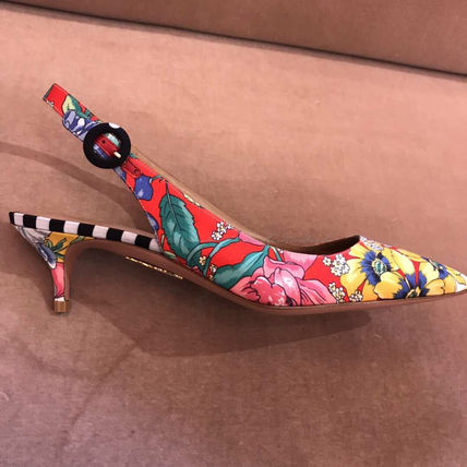 Stripes Flower Patterns Pin Heels Elegant Style