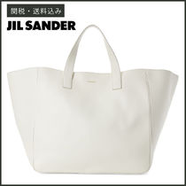 Jil Sander Casual Style Unisex A4 Plain Leather Oversized Totes
