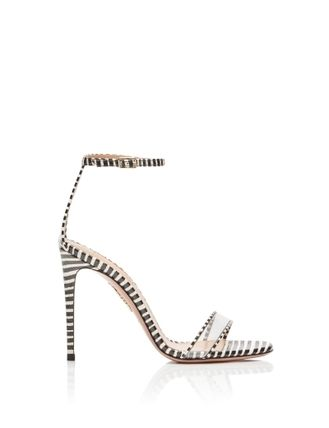 Stripes Open Toe Leather Pin Heels Elegant Style Logo