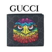 GUCCI Monogram Canvas Other Animal Patterns Folding Wallets