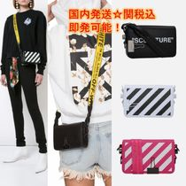 Off-White BINDER CLIP Stripes Casual Style Unisex Street Style Shoulder Bags