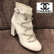 CHANEL Plain Leather Block Heels With Jewels Elegant Style
