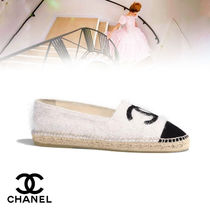 CHANEL Platform Round Toe Casual Style Blended Fabrics Bi-color
