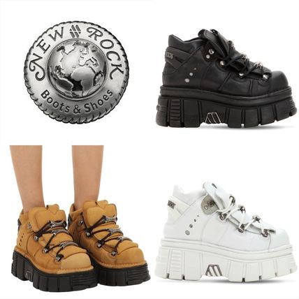 Platform Casual Style Leather Platform & Wedge Sneakers