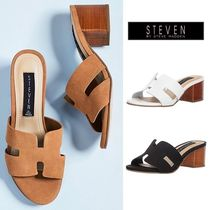 Steve Madden Suede Plain Office Style Chunky Heels Heeled Sandals