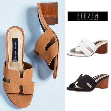 Suede Plain Office Style Chunky Heels Heeled Sandals