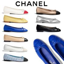 CHANEL Round Toe Casual Style Blended Fabrics Plain Leather Flats