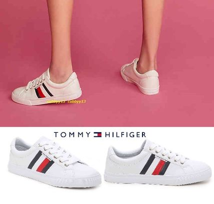 Stripes Round Toe Rubber Sole Casual Style Low-Top Sneakers
