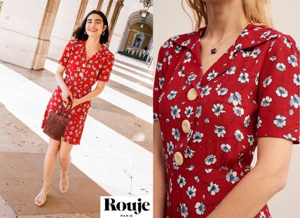 Short Flower Patterns Flared V-Neck Short Sleeves