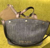 PRADA CANAPA Casual Style A4 2WAY Bi-color Plain Totes