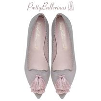 Pretty Ballerinas Suede Tassel Plain Office Style Pointed Toe Shoes
