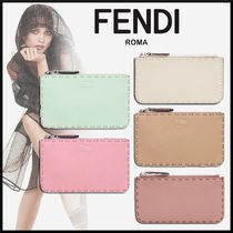 FENDI SELLERIA Calfskin Plain Card Holders