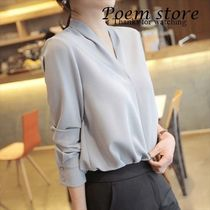 Chiffon Long Sleeves Plain Medium Office Style