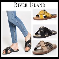 River Island Open Toe Casual Style Faux Fur Blended Fabrics Street Style