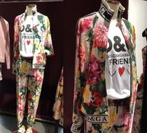 Dolce & Gabbana Flower Patterns Casual Style Street Style Long Sleeves