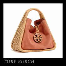 Tory Burch Suede Plain Straw Bags