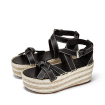 LOEWE GATE Open Toe Platform Plain Leather Platform & Wedge Sandals