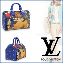 Louis Vuitton SPEEDY Canvas Blended Fabrics A4 Elegant Style Handbags