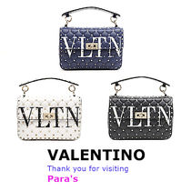 VALENTINO Calfskin Studded 3WAY Chain Shoulder Bags
