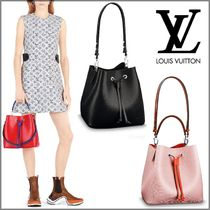 Louis Vuitton NEONOE Blended Fabrics 2WAY Bi-color Plain Leather Elegant Style
