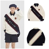 ROMANTIC CROWN Unisex Street Style Long Sleeves Oversized Polos