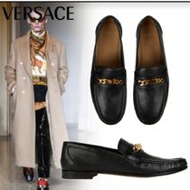VERSACE Moccasin Unisex Street Style Leather Loafers & Slip-ons