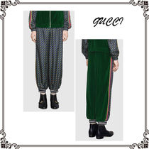 GUCCI Stripes Unisex Silk Street Style Bi-color Sarouel Pants