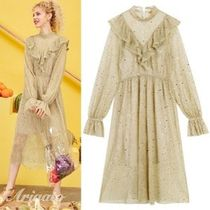 ELF SACK Star Casual Style Chiffon Flared Street Style Long Sleeves