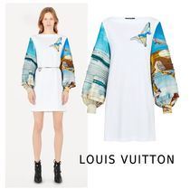 Louis Vuitton 2019-20AW JERSEYDRESS W/PRINTED SLEEVES white XS-3L Dresses