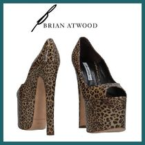 Brian Atwood Leopard Patterns Open Toe Leather Peep Toe Pumps & Mules