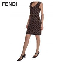 FENDI Monogram Sleeveless U-Neck Medium Dresses