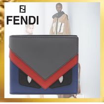 FENDI Calfskin Focused Brands Folding Wallets