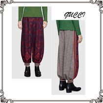 GUCCI Stripes Other Check Patterns Unisex Street Style Cotton