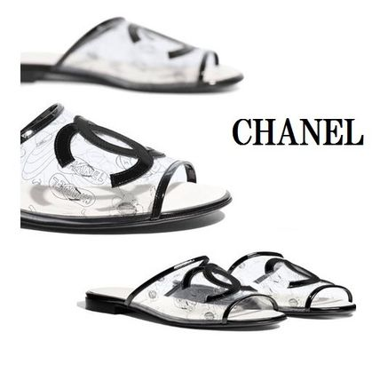 16d0515f767 ... CHANEL More Sandals Open Toe Casual Style Block Heels PVC Clothing  Sandals ...