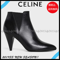 CELINE Blended Fabrics Plain Leather Pin Heels Elegant Style