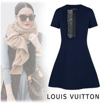 Louis Vuitton 2019-20AW SKATER DREES WITH RUFFLE navy 34-40 Dresses