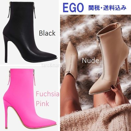 Plain Pin Heels Elegant Style Ankle & Booties Boots