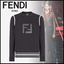 FENDI Crew Neck Stripes Monogram Long Sleeves Cotton Sweatshirts