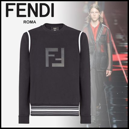 FENDI Sweatshirts Crew Neck Stripes Monogram Long Sleeves Cotton Sweatshirts