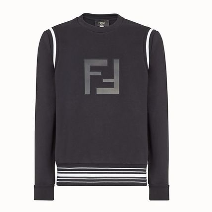 FENDI Sweatshirts Crew Neck Stripes Monogram Long Sleeves Cotton Sweatshirts 2