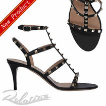 VALENTINO Open Toe Studded Leather Pin Heels Elegant Style