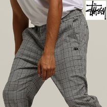 STUSSY Tapered Pants Other Check Patterns Street Style Cotton