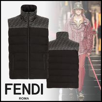 FENDI Monogram Unisex Nylon Logo Vests & Gillets