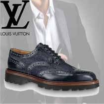 Louis Vuitton Wing Tip Blended Fabrics Plain Leather Oxfords