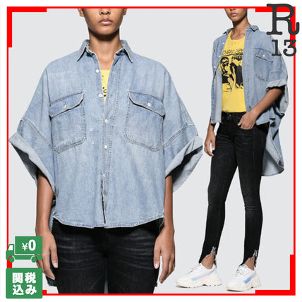 Casual Style Denim Street Style Plain Short Sleeves