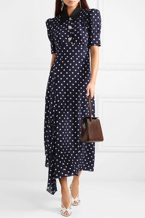Dots Street Style Long Sleeves Medium Elegant Style Dresses