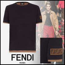 FENDI Crew Neck Monogram Unisex Cotton Short Sleeves